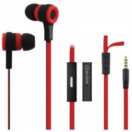 Rubber Earphones w/Mic Red & Black