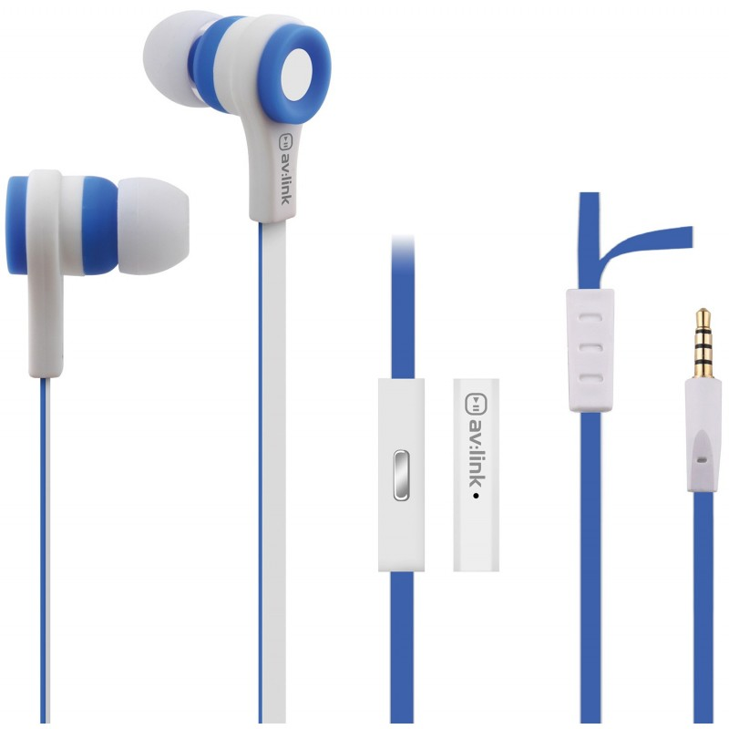 Rubber Earphones w/Mic Blue & White